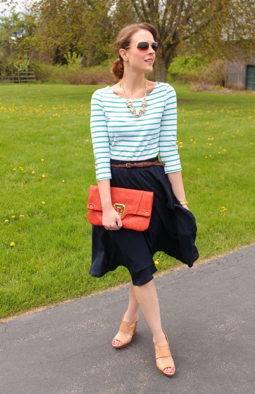 Stripes + midi skirt