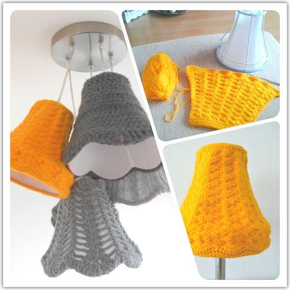 Gele lampenkap gehaakt, april 2013!      ♪ ♪ ... #inspiration_crochet #diy GB