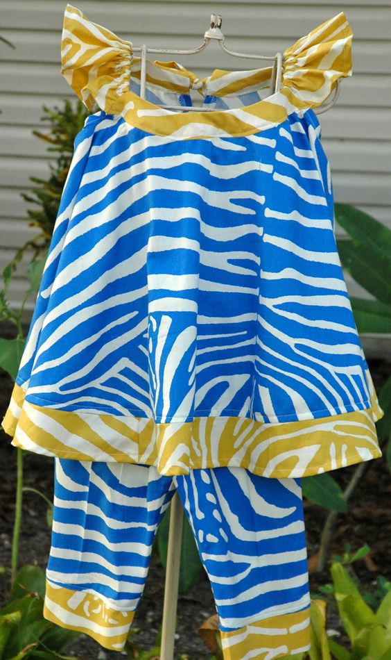Size 5-6 Blue and Yellow Zebra Pant Set....$52