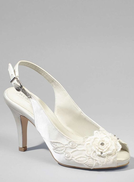 May Floral Applique Lace Sling Back Heels, Ivory - BHS