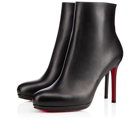 Christian Louboutin Bootylili Black Leather Ankle Boots 100mm