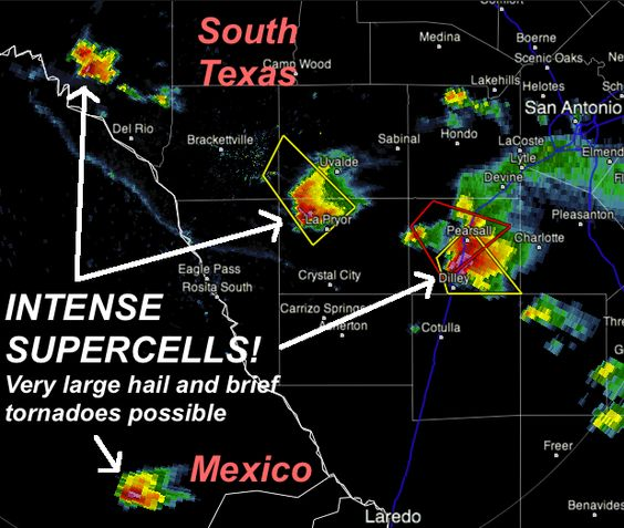 INTENSE supercells in deep south Texas moving SSE likely producing hail larger than baseballs and even a brief tornado threat.      The tornado warning earlier for just south of Pearsall, TX was allowed to expire.      The storm north of Del Rio likely will intensify rapidly over the next hour.