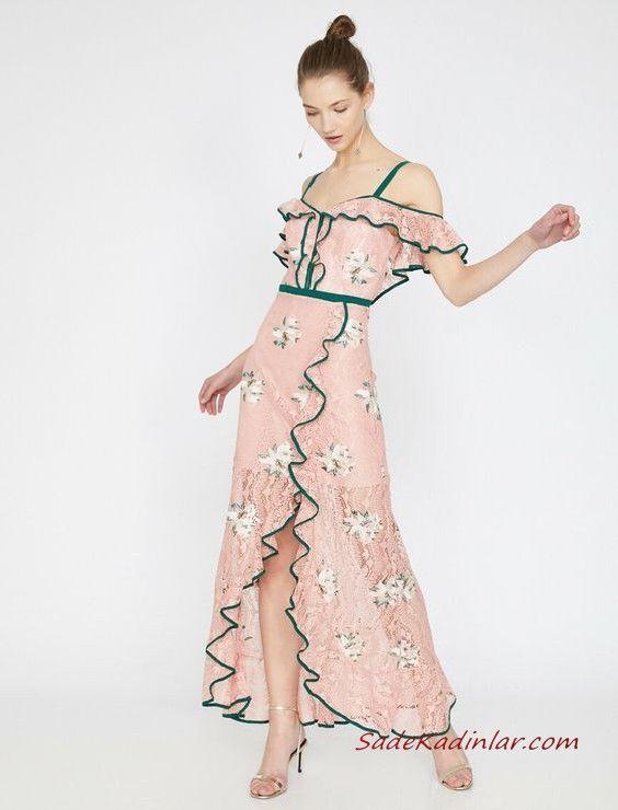 2019 Yazlik Elbise Modelleri Koton Uzun Askili Desenli Firfirli Yirtmacli Elbise Modelleri Elbise The Dress