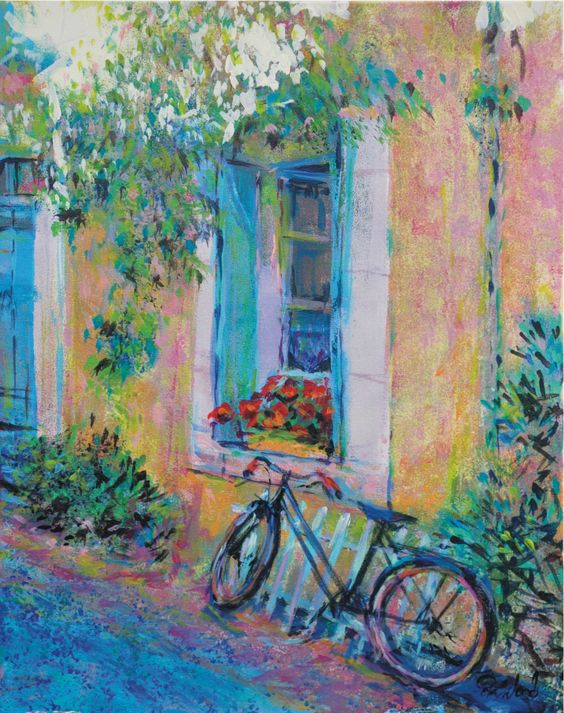Secrets 4. Old bike in a French street - Acrylics