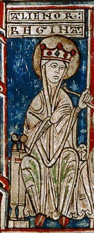 Miniatura posterior a 1174 del Tumbo menor de Castilla que representa a la reina Leonor Plantagenet. Archivo Histórico Nacional.