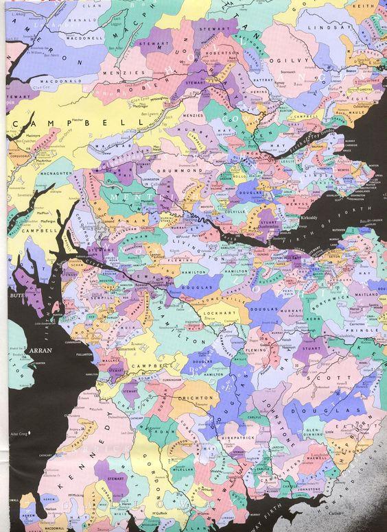 Map of Scottish clans central Scotland surnames