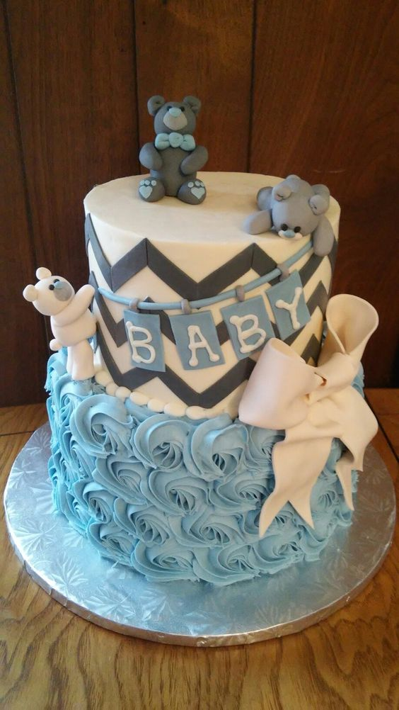 My current favorite baby shower cake we have done - I just love how the bears turned out! Heavenly Taylored Sweets