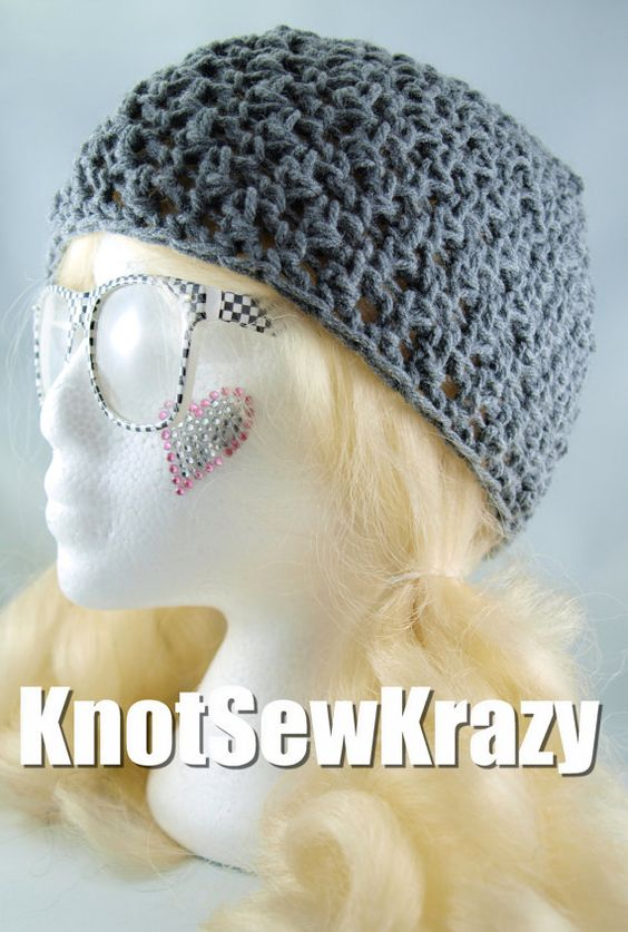 Crochet Skullcap Beanie   Grey  Handmade by roxygal48 on Etsy, $15.99