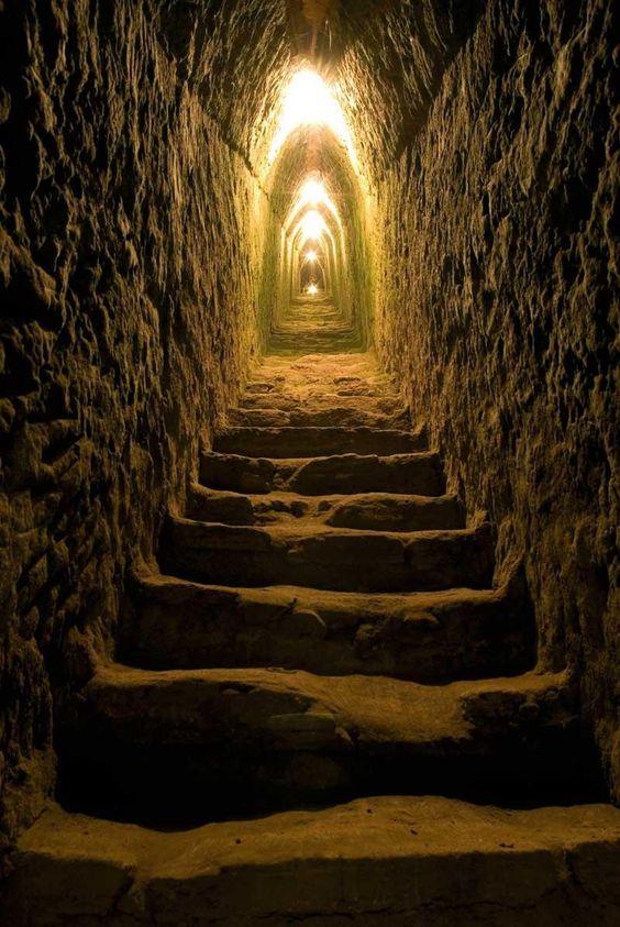 Dentro de la pirámide de Cholula.