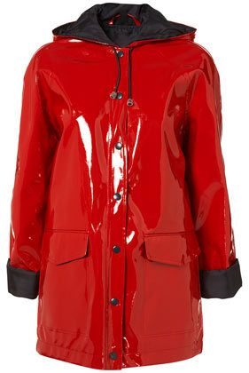 Topshop *rare* shiny red pvc plastic rain coat mac jacket winter