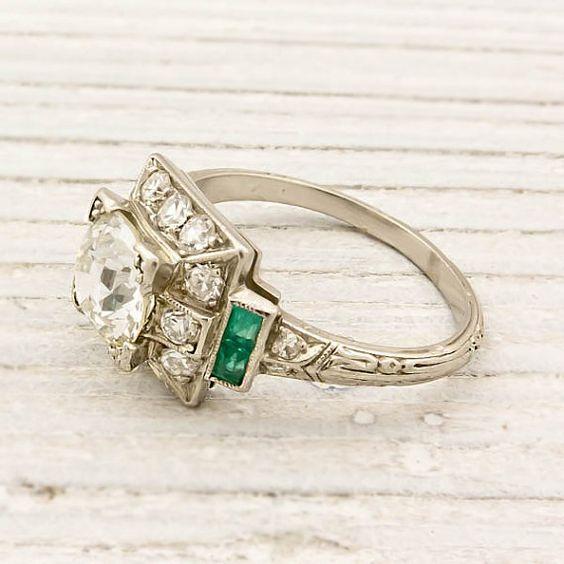 Vintage 1.20 Carat Old European Cut Diamond Engagement Ring