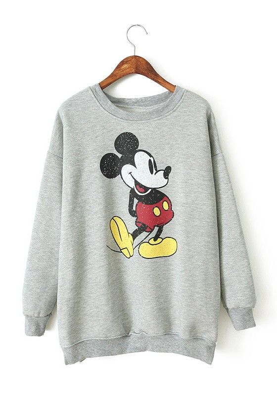 Grey Mickey Mouse Print Round Neck Cotton Sweatshirt