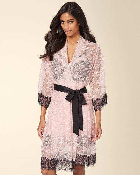 I got the Soma Intimates Chantilly Lace Short Robe Boudoir Pink w/Black #somaintimates