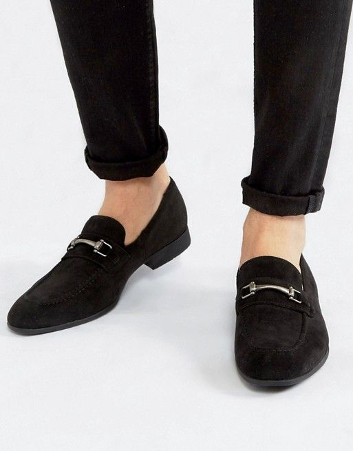 black faux suede with snaffle detail