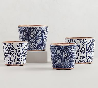 Hand Painted Patterned Ceramic Planters In 2020 Ceramic Planters Ceramics Pottery