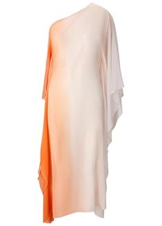 Asymmetric kaftan dress in an apricot and beige dip-dye effect by Jorge Gonzalez.