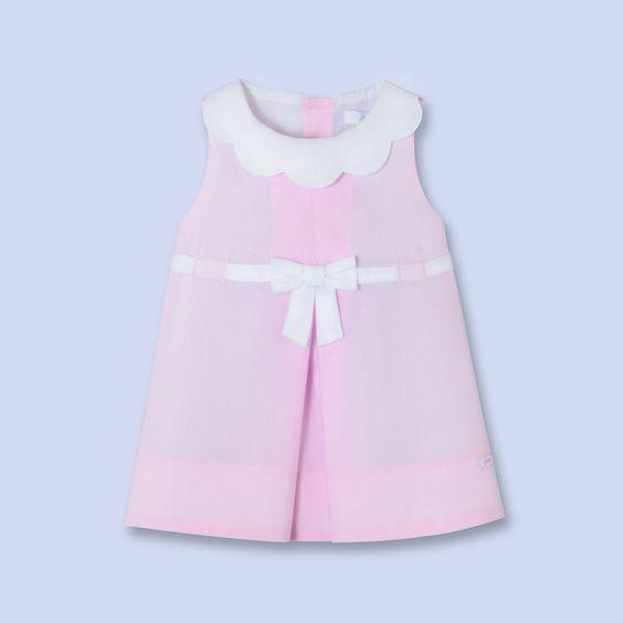 Robe en popeline rose pour bébé, fille