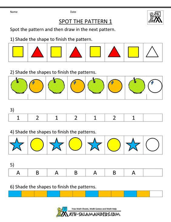 Free Kindergarten Worksheets Spot the Patterns | Kindergarten ...