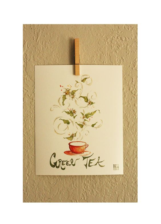 Watercolor Tea Painting, Whimsical Tea Leaves, Blooming Green Tea ...