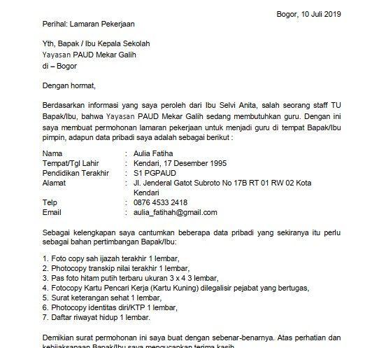 4 Contoh Surat Lamaran Kerja Guru Paud Informasi Dari Orang Dalam Guru Sekolah Surat