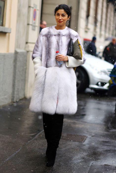 Caroline Issa, White Fur Coat