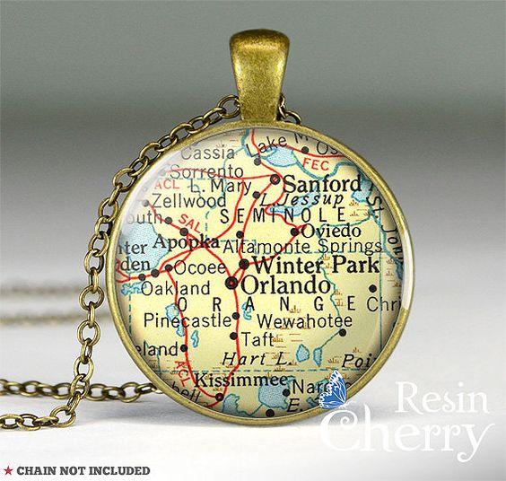 Orlando map pendant,Orlando map resin pendants,map pendant charm,Florida- M1013CP on Etsy, $11.95