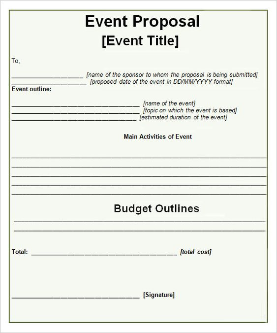 Event Proposal Templates – Party Proposal