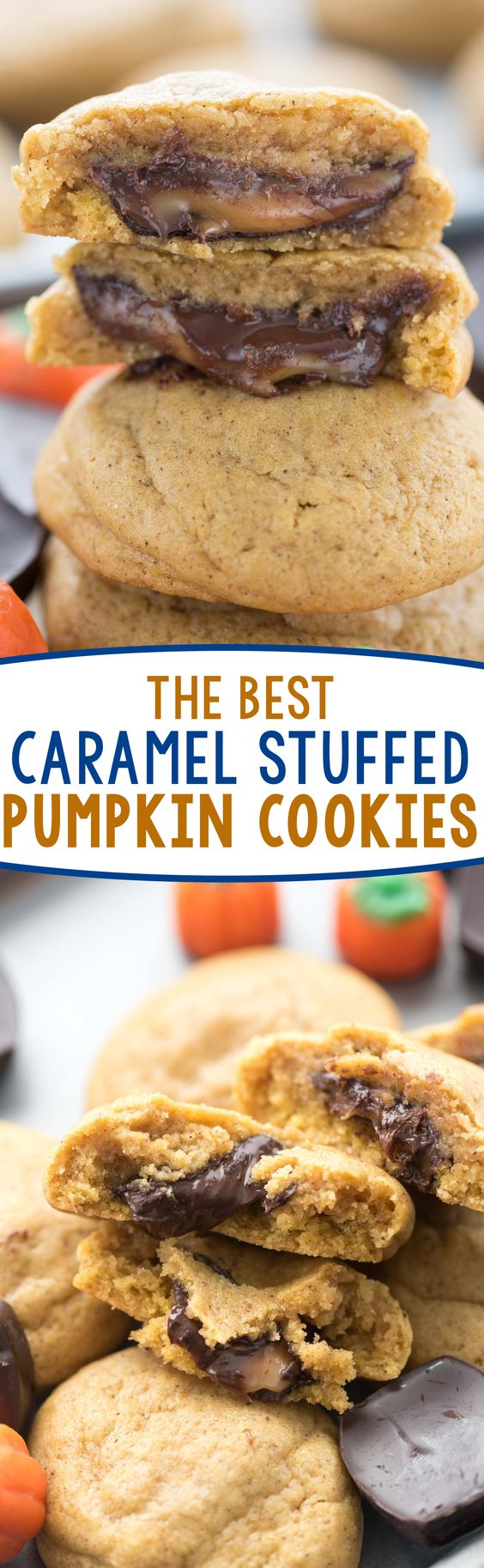 Caramel Stuffed Pumpkin Cookies - this is the BEST Pumpkin Cookie recipe stuffed with chocolate caramel candies!