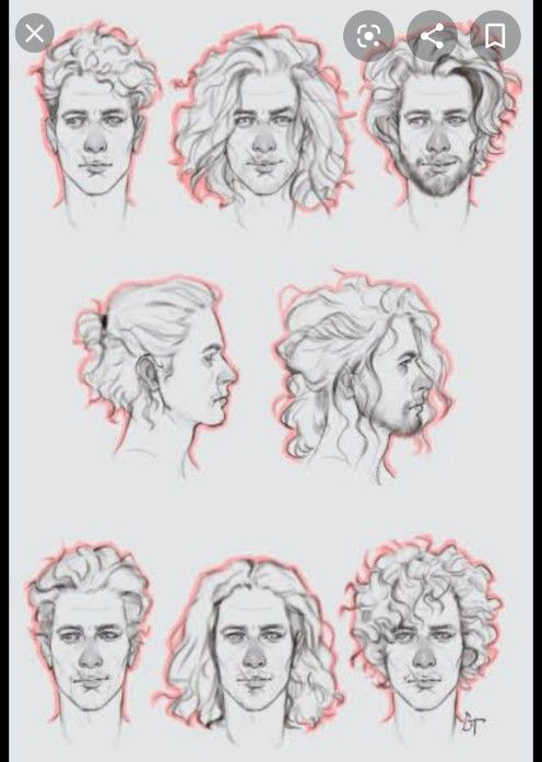 How To Draw Wavy Hair Male : Evelyn, Alfaro, Ilustração, Drawing,, Curly, Sketch