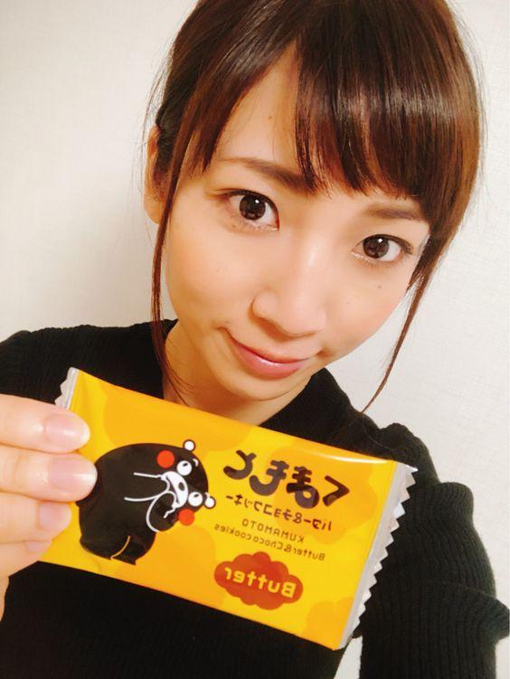 内田敦子くまもんクッキーもって可愛い