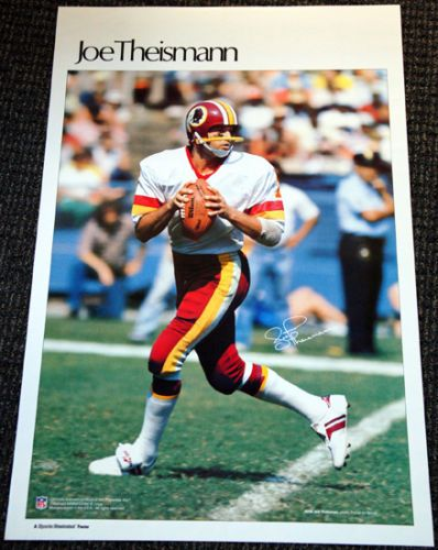 JOE THEISMANN Washington Redskins 1982 Marketcom Sports Illustrated NFL Poster - Sold for $49.00 Nov 2013
