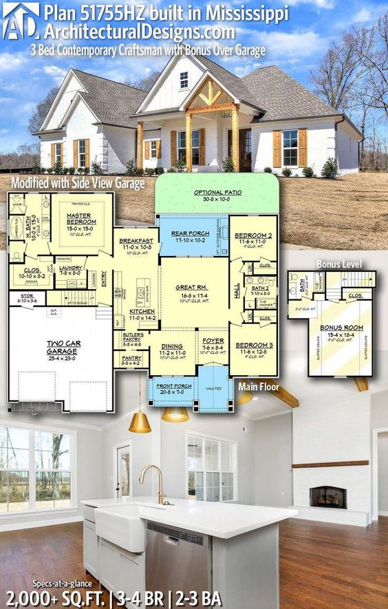 Bigger Rooms And Closets Architectural Designs Craftsman House Plan 51755hz Client Built In Missis In 2020 Craftsman House Plans House Plans Farmhouse Craftsman House