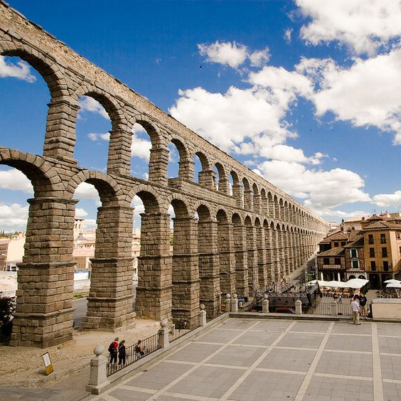 Spain.  This aqueduct is left over from when Rome ruled Spain.  It's said to be held together with nothing but the weight of the stones.  No mortar.  And still standing.  How cool.
