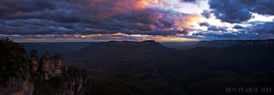 Jamison sunset panoramic- Blue mountains, Australia. Ben Pearse is a professional photographer living and working in the beautiful Blue Mountains, Australia. Photographic work I cover includes- Weddings, portraits, functions, commercial, events, album covers,products, motion stills & more..Images are available for commercial licensing.. Email- benpearsephotography@gmail.com
