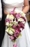 Gorgeous Pink and White Shower Bridal Bouquet filled with Calla and Roses