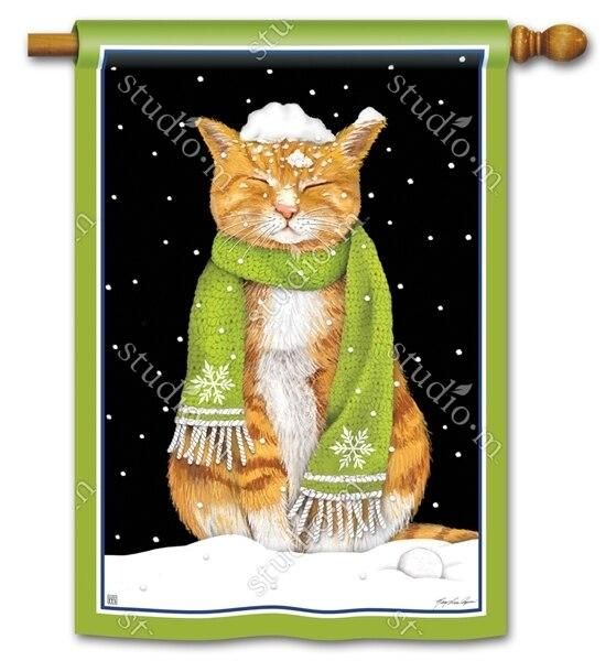 Orange Kitty In The Snow House Flag In 2020 House Flags Winter Flags Winter Cat