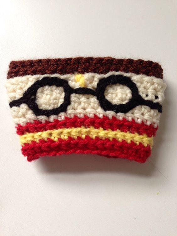 Harry Potter Amigurumi Crochet Patterns : Harry Potter Crocheted Coffee Cozy on Etsy Geekology ...