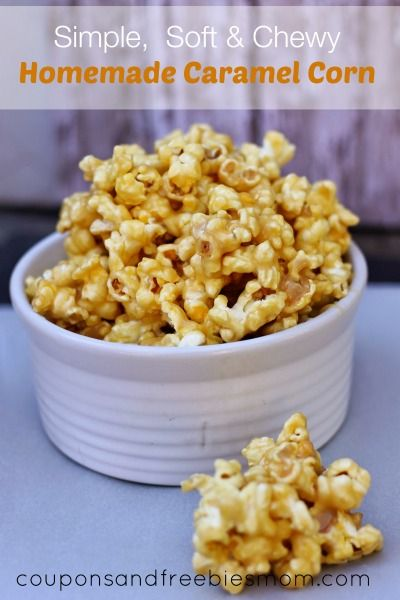 Looking for a sweet and tasty treat to nibble on? This soft homemade caramel corn is just the snack- soft, chewy and full of the caramel flavor you love.