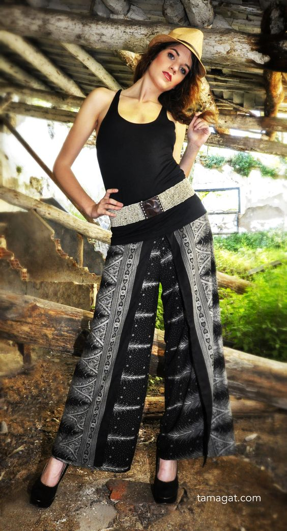Pantalon ancho de estilo pareo