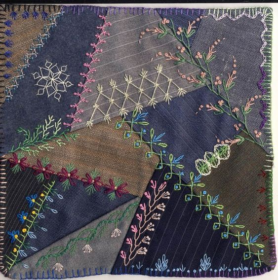 Crazy Quilt embroidery stitches - ideas for incorporating into denim Christmas stockings