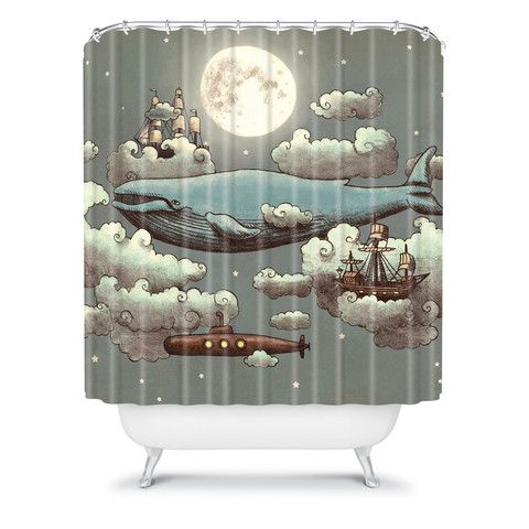 Terry Fan Ocean Meets Sky Shower Curtain. This would be perfect for the tiny bathroom.