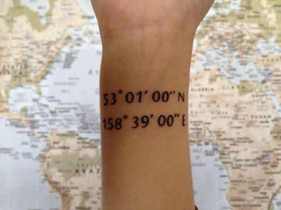 Coordinates tattoo cool ideas and font styles on pinterest for Tattoo removal columbus ohio cost