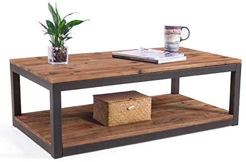 Amazon Com Care Royal Vintage Industrial Farmhouse 43 3 Coffee Table Accent Cocktail Table With Storage Open Shelf For Living Room Natural Koltuklar