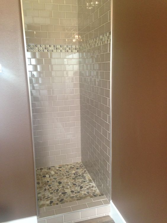 Master shower walls 3x6 subway tile in a beige taupe color for Masters wall tiles
