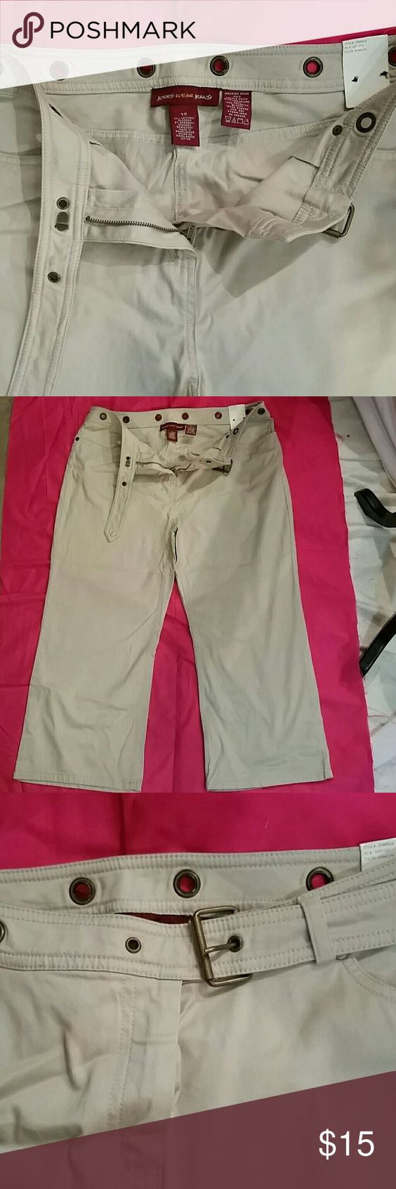 Pants Khaki jeans with zipper and faux belt front  Never worn Jones New York Pants Capris