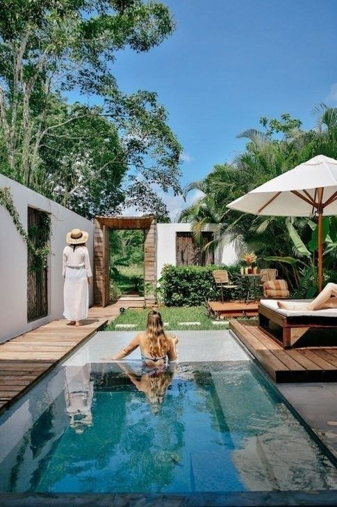 Glamorous Garden Design Ideas With Swimming Pools 37 Tuin Zwembad Zwembad Achtertuin Balinese Tuin