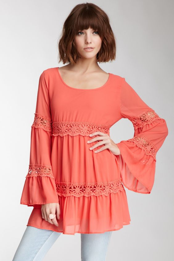 Crocheted Tiered Tunic. Love the coral color