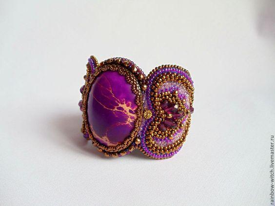 """Купить """"Пурпурный закат солнца """"... - фиолетовый, варисцит, браслет, пурпурный, украшения ручной работы"""