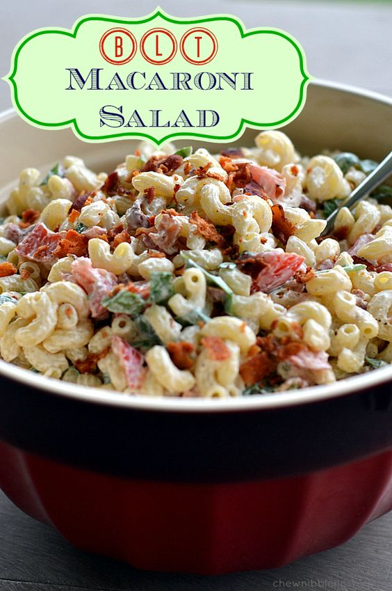 BLT Macaroni Salad -  A perfect addition to your 4th of July table! Deliciously simple at Chew Nibble Nosh. #recipe