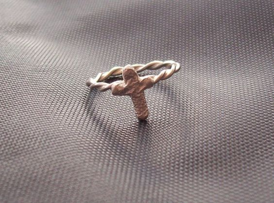 Pinky Ring Twisted Wire with Cross £16.00